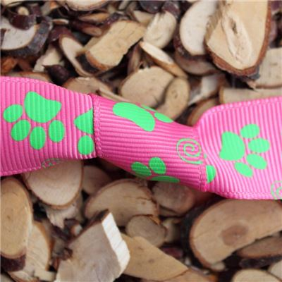 Paw Print Ribbon - 25mm Pink/Green Grosgrain