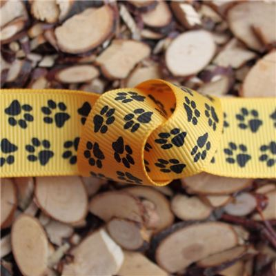 Paw Print Ribbon - 25mm Yellow Grosgrain