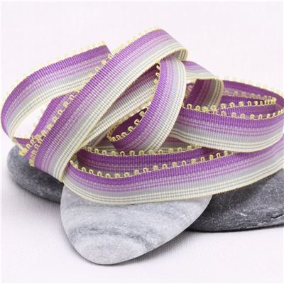 10mm Ombre Ribbon - Purple to Lemon