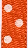 15mm Polk Dot Ribbon - Orange