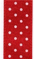 15mm Micro Dot Ribbon - Red