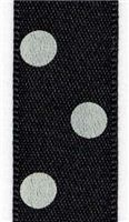 15mm Polka Dot Ribbon - Black