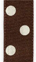 15mm Polka Dot Ribbon - Chocolate