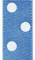 15mm Polka Dot Ribbon - Cornflower