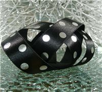 15mm Metallic Polka Dot Ribbon - Silver