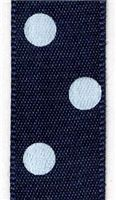 15mm Polka Dot Ribbon - Navy