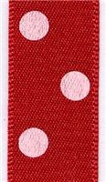 15mm Polka Dot Ribbon - Red