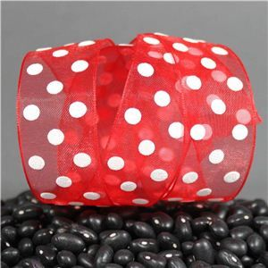 Sheer Puff Dot Ribbon - Red