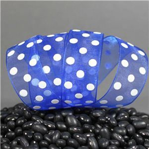 Sheer Puff Dot Ribbon - Royal