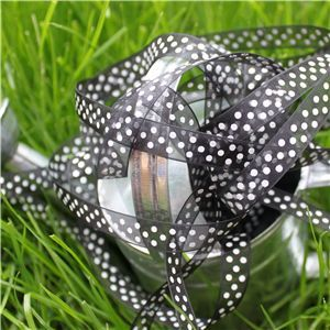 Organza Swiss Dot Ribbon - Black/White