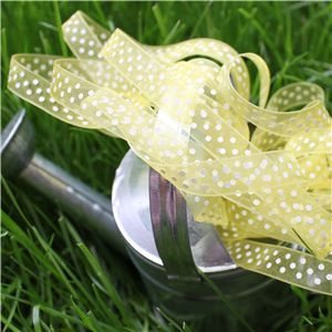 Organza Swiss Dot Ribbon - Lemon/White