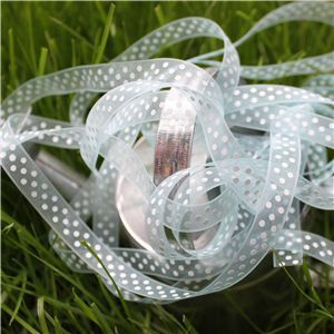 Organza Swiss Dot Ribbon - Lt Blue/White