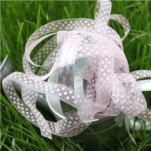 Organza Swiss Dot Ribbon - Lt Pink/White