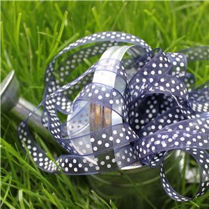 Organza Swiss Dot Ribbon - Navy/White