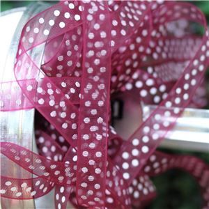 Organza Swiss Dot Ribbon - Wine/White