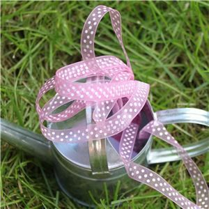 Organza Swiss Dot Ribbon - Tulip/White