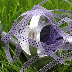 Organza Swiss Dot Ribbon - Hyacinth/Black