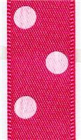 15mm Polka Dot Ribbon - Shocking Pink