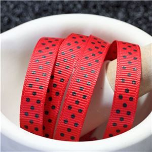 Grosgrain Ribbon - Swiss Dot Red/Black