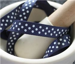 Grosgrain Ribbon - Swiss Dot Navy/White