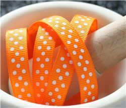 Grosgrain Ribbon - Swiss Dot Tangerine/White