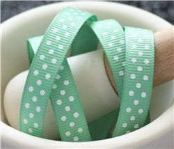 Grosgrain Ribbon - Swiss Dot Celadon/White