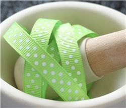 Grosgrain Ribbon - Swiss Dot Lime Juice/White