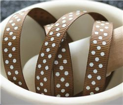 Grosgrain Ribbon - Swiss Dot Turftan/White