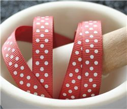 Grosgrain Ribbon - Swiss Dot Rust/White