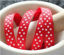 Grosgrain Ribbon - Swiss Dot Red/White