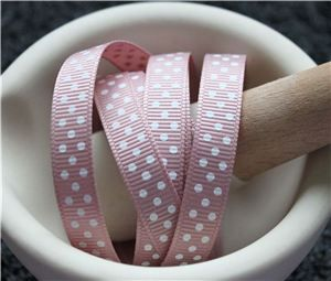 Grosgrain Ribbon - Swiss Dot Antique Mauve/White