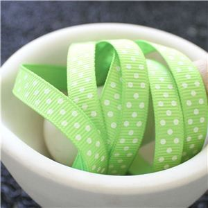 Grosgrain Ribbon - Swiss Dot Apple Green/Candlelight