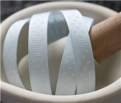 Grosgrain Ribbon - Swiss Dot Blue Vapour/White