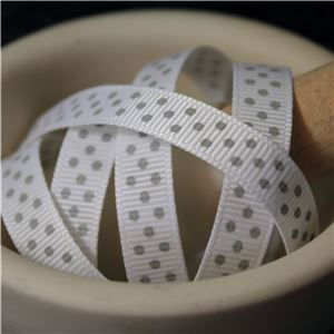 Grosgrain Ribbon - Swiss Dot White/Shell Grey
