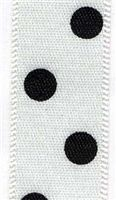 15mm Polka Dot Ribbon - White
