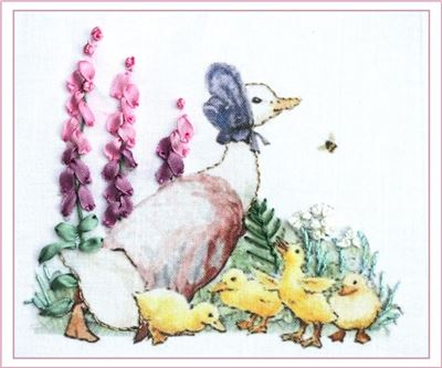 Silk Ribbon Embroidery Kit - Puddle Duck