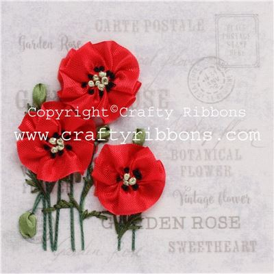 Silk Ribbon Embroidery Kit - Poppies