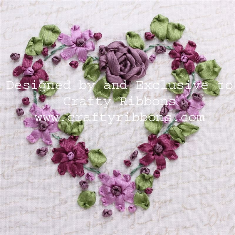 Silk ribbon embroidery kit flower heart