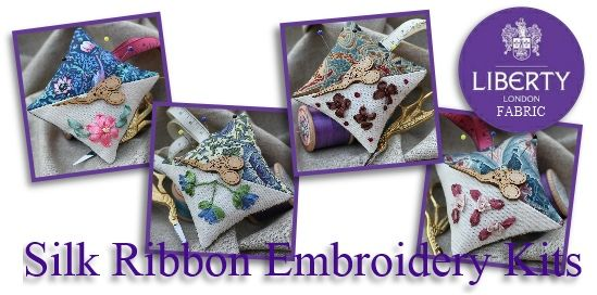 ribbon embroidery kits with Liberty fabric