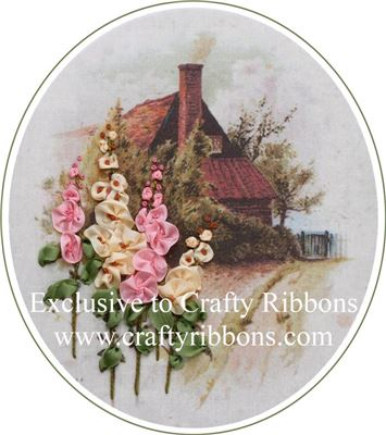 Silk Ribbon Embroidery Kit - Hollyhock Cottage