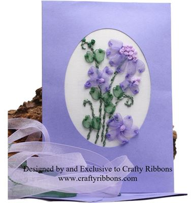 Ribbon Card Kit - Purple Flowers