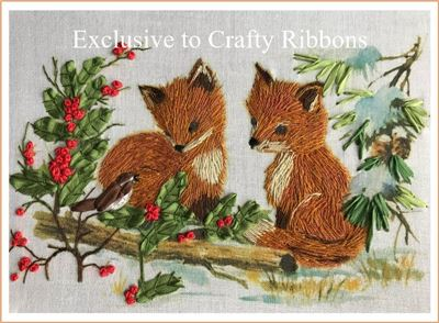 Silk Ribbon Embroidery Kit - Two Little Foxes
