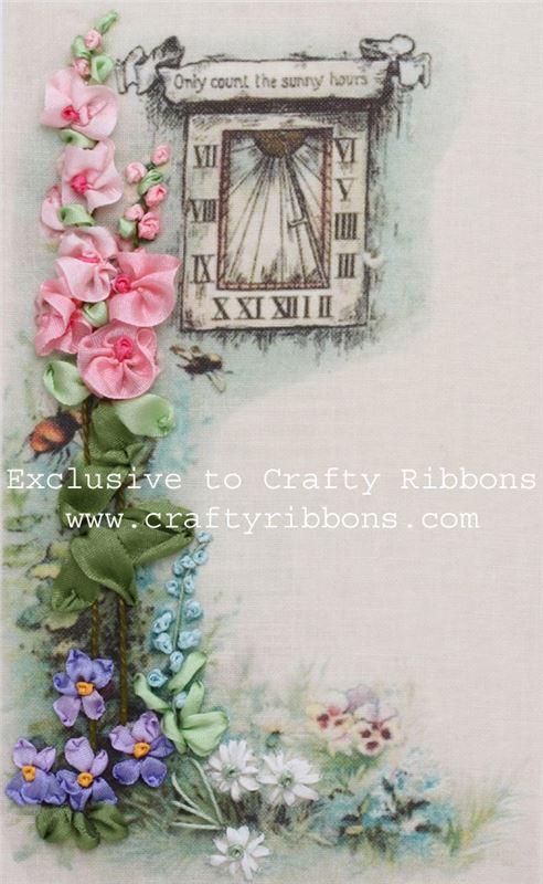 Silk ribbon embroidery kit sundial garden