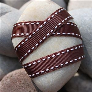 Saddle Stitch Ribbon - Brown/White