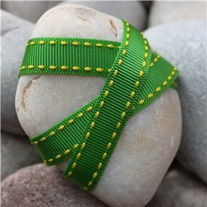 Saddle Stitch Ribbon - Lime/Yellow