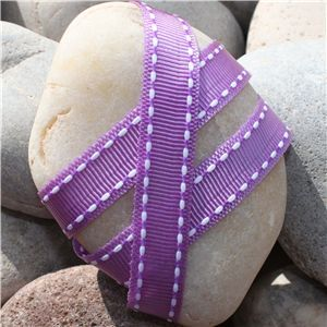 Saddle Stitch Ribbon - Orchid/White