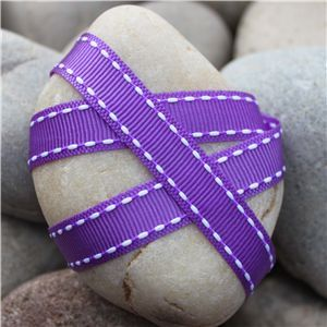 Saddle Stitch Ribbon - Purple/White