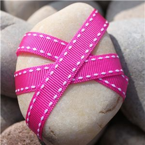 Saddle Stitch Ribbon - Fuschia/White