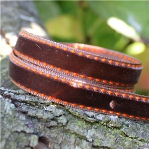 Velvet Saddle Stitch Ribbon - Brown/Orange