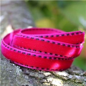 Velvet Saddle Stitch Ribbon - Fuchsia/Black